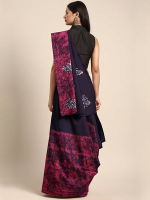 Navy Blue & Pink Tie & Dyed Handcrafted Batik Cotton Saree-Saree-Kalakari India-BHKPSA0057-Batik, Cotton, Geographical Indication, Hand Blocks, Hand Crafted, Heritage Prints, Sarees, Sustainable Fabrics-[Linen,Ethnic,wear,Fashionista,Handloom,Handicraft,Indigo,blockprint,block,print,Cotton,Chanderi,Blue, latest,classy,party,bollywood,trendy,summer,style,traditional,formal,elegant,unique,style,hand,block,print, dabu,booti,gift,present,glamorous,affordable,collectible,Sari,Saree,printed, holi, Diw