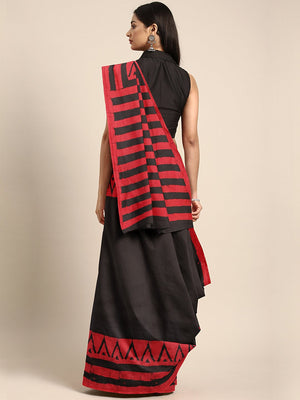 Black & Red Striped Mud Resist Handblock Print Handcrafted Cotton Saree-Saree-Kalakari India-BHKPSA0058-Cotton, Dabu, Geographical Indication, Hand Blocks, Hand Crafted, Heritage Prints, Indigo, Natural Dyes, Sarees, Sustainable Fabrics-[Linen,Ethnic,wear,Fashionista,Handloom,Handicraft,Indigo,blockprint,block,print,Cotton,Chanderi,Blue, latest,classy,party,bollywood,trendy,summer,style,traditional,formal,elegant,unique,style,hand,block,print, dabu,booti,gift,present,glamorous,affordable,collect