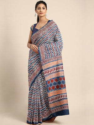 Navy Blue & Maroon Mud Resist Handblock Print Handcrafted Cotton Saree-Saree-Kalakari India-BHKPSA0060-Cotton, Dabu, Geographical Indication, Hand Blocks, Hand Crafted, Heritage Prints, Indigo, Natural Dyes, Sarees, Sustainable Fabrics-[Linen,Ethnic,wear,Fashionista,Handloom,Handicraft,Indigo,blockprint,block,print,Cotton,Chanderi,Blue, latest,classy,party,bollywood,trendy,summer,style,traditional,formal,elegant,unique,style,hand,block,print, dabu,booti,gift,present,glamorous,affordable,collecti