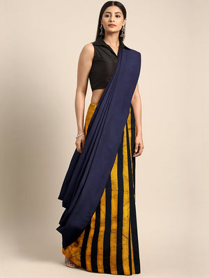 Navy Blue & Yellow Striped Mud Resist Handblock Print Handcrafted Cotton Saree-Saree-Kalakari India-BHKPSA0061-Cotton, Dabu, Geographical Indication, Hand Blocks, Hand Crafted, Heritage Prints, Indigo, Natural Dyes, Sarees, Sustainable Fabrics-[Linen,Ethnic,wear,Fashionista,Handloom,Handicraft,Indigo,blockprint,block,print,Cotton,Chanderi,Blue, latest,classy,party,bollywood,trendy,summer,style,traditional,formal,elegant,unique,style,hand,block,print, dabu,booti,gift,present,glamorous,affordable,