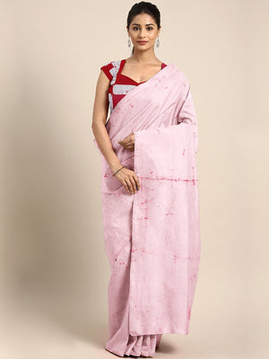 White & Pink Shibori Tie & Dyed Handcrafted Cotton Saree-Saree-Kalakari India-BHKPSA0062-Cotton, Geographical Indication, Hand Blocks, Hand Crafted, Heritage Prints, Sarees, Shibori, Sustainable Fabrics-[Linen,Ethnic,wear,Fashionista,Handloom,Handicraft,Indigo,blockprint,block,print,Cotton,Chanderi,Blue, latest,classy,party,bollywood,trendy,summer,style,traditional,formal,elegant,unique,style,hand,block,print, dabu,booti,gift,present,glamorous,affordable,collectible,Sari,Saree,printed, holi, Diw