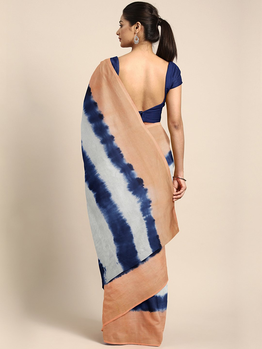 Peach-Coloured & Navy Blue Tie & Dyed Handcrafted Saree-Saree-Kalakari India-BHKPSA0066-Cotton, Dabu, Geographical Indication, Hand Blocks, Hand Crafted, Heritage Prints, Indigo, Natural Dyes, Sarees, Sustainable Fabrics-[Linen,Ethnic,wear,Fashionista,Handloom,Handicraft,Indigo,blockprint,block,print,Cotton,Chanderi,Blue, latest,classy,party,bollywood,trendy,summer,style,traditional,formal,elegant,unique,style,hand,block,print, dabu,booti,gift,present,glamorous,affordable,collectible,Sari,Saree,
