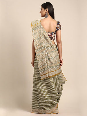 Olive Green & Off-White Mud Resist Handblock Print Handcrafted Cotton Saree-Saree-Kalakari India-BHKPSA0067-Cotton, Dabu, Geographical Indication, Hand Blocks, Hand Crafted, Heritage Prints, Indigo, Natural Dyes, Sarees, Sustainable Fabrics-[Linen,Ethnic,wear,Fashionista,Handloom,Handicraft,Indigo,blockprint,block,print,Cotton,Chanderi,Blue, latest,classy,party,bollywood,trendy,summer,style,traditional,formal,elegant,unique,style,hand,block,print, dabu,booti,gift,present,glamorous,affordable,col
