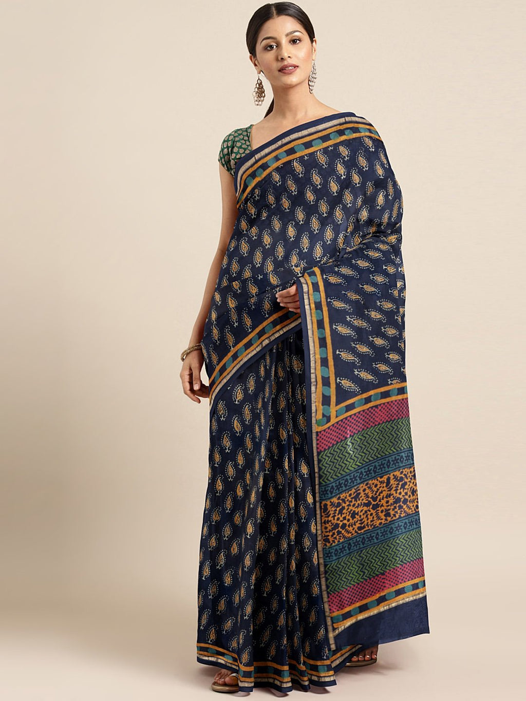 Navy Blue & Mustard Sanganeri Block Print Handcrafted Chanderi Saree-Saree-Kalakari India-BHKPSA0068-Chanderi, Dabu, Geographical Indication, Hand Blocks, Hand Crafted, Heritage Prints, Indigo, Natural Dyes, Sarees, Sustainable Fabrics-[Linen,Ethnic,wear,Fashionista,Handloom,Handicraft,Indigo,blockprint,block,print,Cotton,Chanderi,Blue, latest,classy,party,bollywood,trendy,summer,style,traditional,formal,elegant,unique,style,hand,block,print, dabu,booti,gift,present,glamorous,affordable,collecti