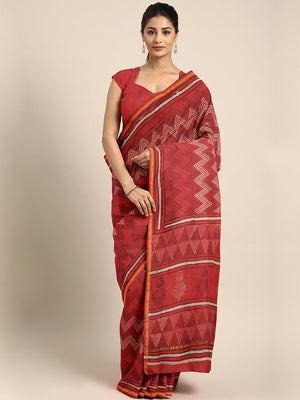 Red & Beige Mud Resist Handblock Print Handcrafted Chanderi Saree-Saree-Kalakari India-BHKPSA0069-Chanderi, Dabu, Geographical Indication, Hand Blocks, Hand Crafted, Heritage Prints, Indigo, Natural Dyes, Sarees, Sustainable Fabrics-[Linen,Ethnic,wear,Fashionista,Handloom,Handicraft,Indigo,blockprint,block,print,Cotton,Chanderi,Blue, latest,classy,party,bollywood,trendy,summer,style,traditional,formal,elegant,unique,style,hand,block,print, dabu,booti,gift,present,glamorous,affordable,collectible