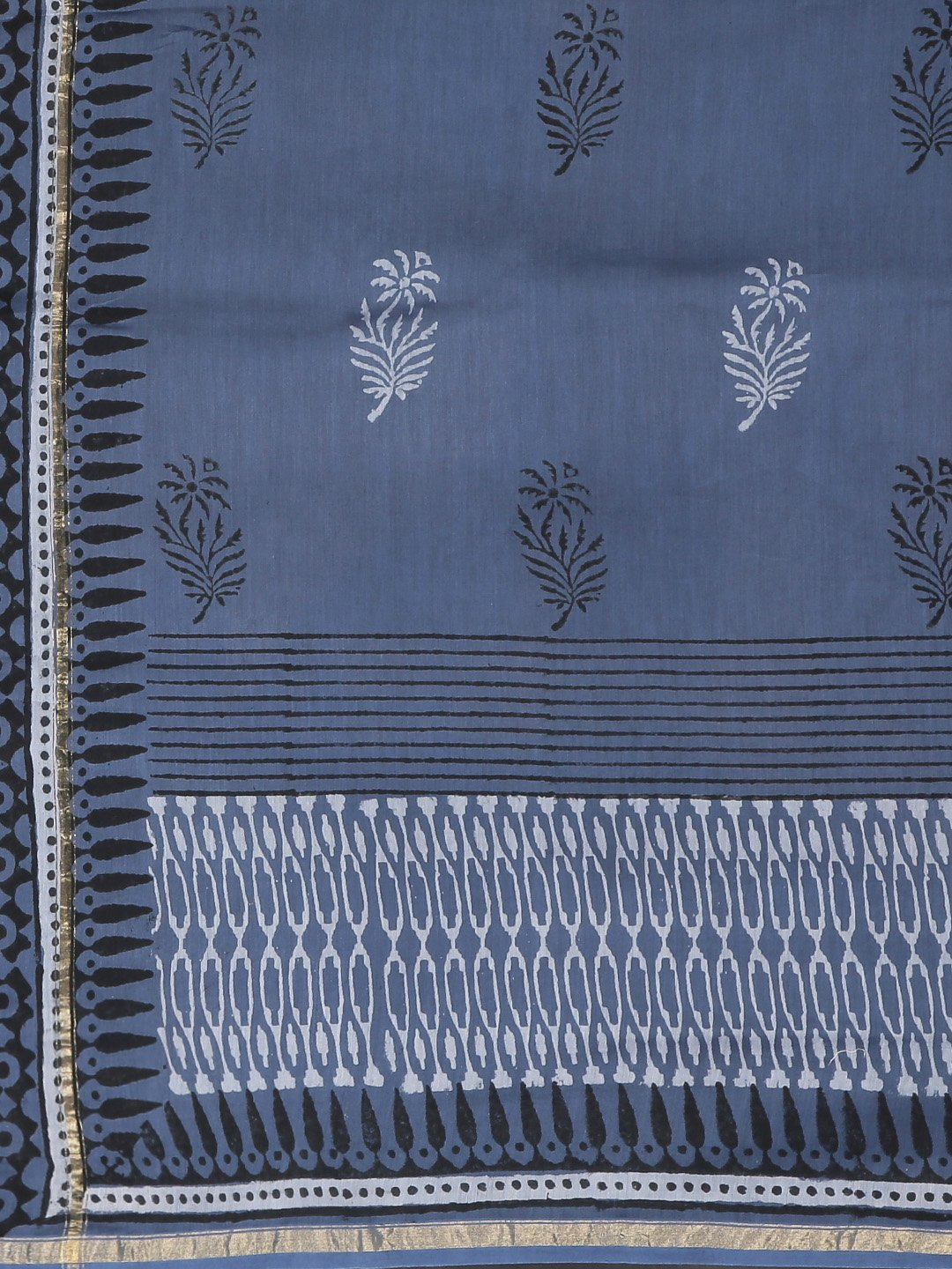 Navy Blue & White Handblock Print Handcrafted Chanderi Saree-Saree-Kalakari India-BHKPSA0070-Chanderi, Dabu, Geographical Indication, Hand Blocks, Hand Crafted, Heritage Prints, Indigo, Natural Dyes, Sarees, Sustainable Fabrics-[Linen,Ethnic,wear,Fashionista,Handloom,Handicraft,Indigo,blockprint,block,print,Cotton,Chanderi,Blue, latest,classy,party,bollywood,trendy,summer,style,traditional,formal,elegant,unique,style,hand,block,print, dabu,booti,gift,present,glamorous,affordable,collectible,Sari