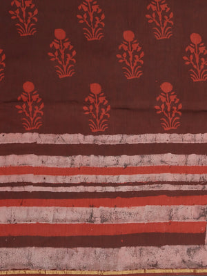 Brown & Maroon Mud Resist Handblock Print Handcrafted Cotton Saree-Saree-Kalakari India-BHKPSA0071-Cotton, Dabu, Geographical Indication, Hand Blocks, Hand Crafted, Heritage Prints, Indigo, Natural Dyes, Sarees, Sustainable Fabrics-[Linen,Ethnic,wear,Fashionista,Handloom,Handicraft,Indigo,blockprint,block,print,Cotton,Chanderi,Blue, latest,classy,party,bollywood,trendy,summer,style,traditional,formal,elegant,unique,style,hand,block,print, dabu,booti,gift,present,glamorous,affordable,collectible,