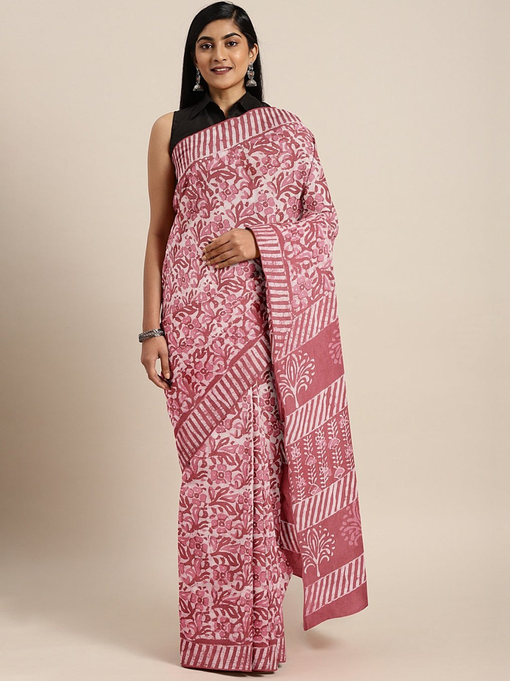 Pink Off-White Dabu Handblock Print Bagru Saree-Saree-Kalakari India-BHKPSA0073-Cotton, Dabu, Geographical Indication, Hand Blocks, Hand Crafted, Heritage Prints, Indigo, Natural Dyes, Sarees, Sustainable Fabrics-[Linen,Ethnic,wear,Fashionista,Handloom,Handicraft,Indigo,blockprint,block,print,Cotton,Chanderi,Blue, latest,classy,party,bollywood,trendy,summer,style,traditional,formal,elegant,unique,style,hand,block,print, dabu,booti,gift,present,glamorous,affordable,collectible,Sari,Saree,printed,