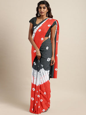 Black Red Dabu Handblock Print Bagru Saree-Saree-Kalakari India-BHKPSA0075-Cotton, Geographical Indication, Hand Blocks, Hand Crafted, Heritage Prints, Sarees, Shibori, Sustainable Fabrics-[Linen,Ethnic,wear,Fashionista,Handloom,Handicraft,Indigo,blockprint,block,print,Cotton,Chanderi,Blue, latest,classy,party,bollywood,trendy,summer,style,traditional,formal,elegant,unique,style,hand,block,print, dabu,booti,gift,present,glamorous,affordable,collectible,Sari,Saree,printed, holi, Diwali, birthday,