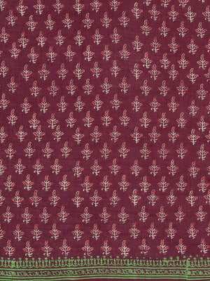 Maroon Beige Pure Cotton Hand Block Printed Dabu Saree-Saree-Kalakari India-BHKPSA0084-Cotton, Dabu, Geographical Indication, Hand Blocks, Hand Crafted, Heritage Prints, Indigo, Natural Dyes, Sarees, Sustainable Fabrics-[Linen,Ethnic,wear,Fashionista,Handloom,Handicraft,Indigo,blockprint,block,print,Cotton,Chanderi,Blue, latest,classy,party,bollywood,trendy,summer,style,traditional,formal,elegant,unique,style,hand,block,print, dabu,booti,gift,present,glamorous,affordable,collectible,Sari,Saree,p