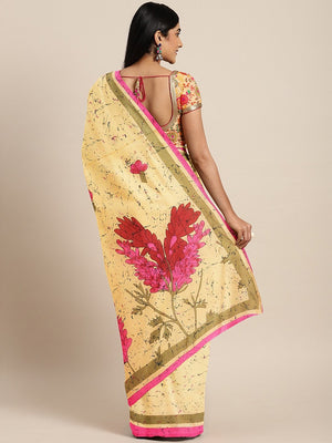 Yellow Pink Pure Cotton Handcrafted Printed Bagru Saree-Saree-Kalakari India-BHKPSA0087-Cotton, Geographical Indication, Hand Blocks, Hand Crafted, Heritage Prints, Sarees, Shibori, Sustainable Fabrics-[Linen,Ethnic,wear,Fashionista,Handloom,Handicraft,Indigo,blockprint,block,print,Cotton,Chanderi,Blue, latest,classy,party,bollywood,trendy,summer,style,traditional,formal,elegant,unique,style,hand,block,print, dabu,booti,gift,present,glamorous,affordable,collectible,Sari,Saree,printed, holi, Diwa