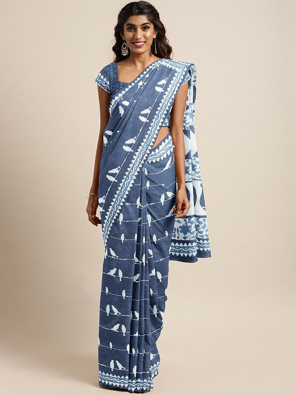 Blue White Dabu Handblock Print Bagru Saree-Saree-Kalakari India-BHKPSA0088-Cotton, Dabu, Geographical Indication, Hand Blocks, Hand Crafted, Heritage Prints, Indigo, Natural Dyes, Sarees, Sustainable Fabrics-[Linen,Ethnic,wear,Fashionista,Handloom,Handicraft,Indigo,blockprint,block,print,Cotton,Chanderi,Blue, latest,classy,party,bollywood,trendy,summer,style,traditional,formal,elegant,unique,style,hand,block,print, dabu,booti,gift,present,glamorous,affordable,collectible,Sari,Saree,printed, hol
