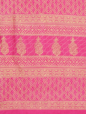 Pink Cream-Coloured Dabu Handblock Print Handcrafted Bagru Saree-Saree-Kalakari India-BHKPSA0089-Cotton, Dabu, Geographical Indication, Hand Blocks, Hand Crafted, Heritage Prints, Indigo, Natural Dyes, Sarees, Sustainable Fabrics-[Linen,Ethnic,wear,Fashionista,Handloom,Handicraft,Indigo,blockprint,block,print,Cotton,Chanderi,Blue, latest,classy,party,bollywood,trendy,summer,style,traditional,formal,elegant,unique,style,hand,block,print, dabu,booti,gift,present,glamorous,affordable,collectible,Sa