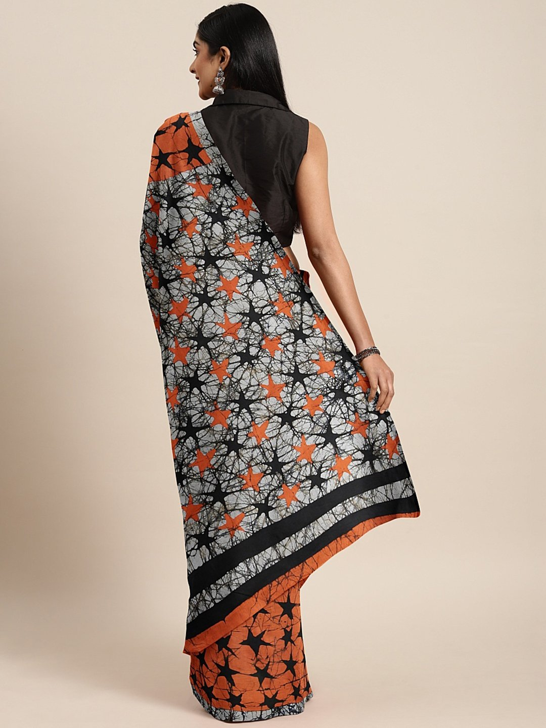 Orange Black Handcrafted Printed Bagru Saree-Saree-Kalakari India-BHKPSA0090-Cotton, Geographical Indication, Hand Blocks, Hand Crafted, Heritage Prints, Sarees, Shibori, Sustainable Fabrics-[Linen,Ethnic,wear,Fashionista,Handloom,Handicraft,Indigo,blockprint,block,print,Cotton,Chanderi,Blue, latest,classy,party,bollywood,trendy,summer,style,traditional,formal,elegant,unique,style,hand,block,print, dabu,booti,gift,present,glamorous,affordable,collectible,Sari,Saree,printed, holi, Diwali, birthda