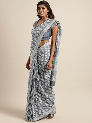 Grey Off-White Handloom Dabu Handblock Print Bagru Saree-Saree-Kalakari India-BHKPSA0093-Cotton, Dabu, Geographical Indication, Hand Blocks, Hand Crafted, Heritage Prints, Indigo, Natural Dyes, Sarees, Sustainable Fabrics-[Linen,Ethnic,wear,Fashionista,Handloom,Handicraft,Indigo,blockprint,block,print,Cotton,Chanderi,Blue, latest,classy,party,bollywood,trendy,summer,style,traditional,formal,elegant,unique,style,hand,block,print, dabu,booti,gift,present,glamorous,affordable,collectible,Sari,Saree