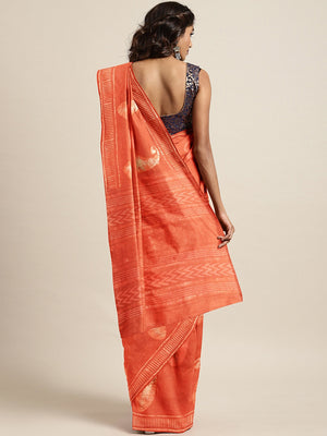 Rust Orange Beige Handloom Dabu Handblock Print Bagru Saree-Saree-Kalakari India-BHKPSA0094-Cotton, Dabu, Geographical Indication, Hand Blocks, Hand Crafted, Heritage Prints, Indigo, Natural Dyes, Sarees, Sustainable Fabrics-[Linen,Ethnic,wear,Fashionista,Handloom,Handicraft,Indigo,blockprint,block,print,Cotton,Chanderi,Blue, latest,classy,party,bollywood,trendy,summer,style,traditional,formal,elegant,unique,style,hand,block,print, dabu,booti,gift,present,glamorous,affordable,collectible,Sari,Sa