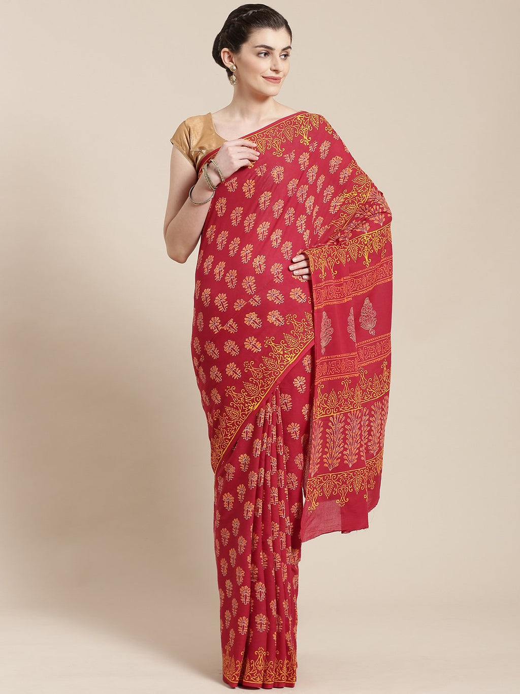 Burgundy Handblock Print Saree-Saree-Kalakari India-BHKPSA0103-Cotton, Geographical Indication, Hand Blocks, Hand Crafted, Heritage Prints, Sanganeri, Sarees, Sustainable Fabrics-[Linen,Ethnic,wear,Fashionista,Handloom,Handicraft,Indigo,blockprint,block,print,Cotton,Chanderi,Blue, latest,classy,party,bollywood,trendy,summer,style,traditional,formal,elegant,unique,style,hand,block,print, dabu,booti,gift,present,glamorous,affordable,collectible,Sari,Saree,printed, holi, Diwali, birthday, anniversa