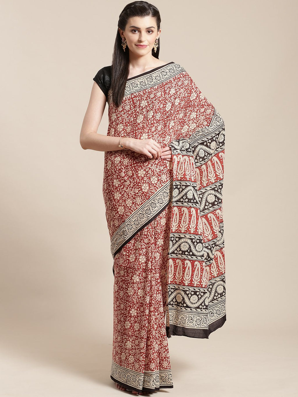 Beige & Black Handblock Print Bagru Saree-Saree-Kalakari India-BHKPSA0104-Cotton, Geographical Indication, Hand Blocks, Hand Crafted, Heritage Prints, Sanganeri, Sarees, Sustainable Fabrics-[Linen,Ethnic,wear,Fashionista,Handloom,Handicraft,Indigo,blockprint,block,print,Cotton,Chanderi,Blue, latest,classy,party,bollywood,trendy,summer,style,traditional,formal,elegant,unique,style,hand,block,print, dabu,booti,gift,present,glamorous,affordable,collectible,Sari,Saree,printed, holi, Diwali, birthday