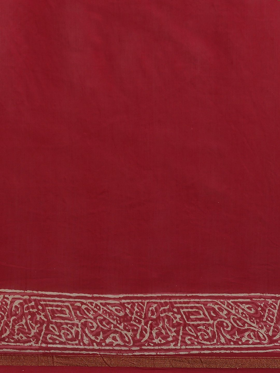 Maroon & Off-White Handblock Print Bagru Saree-Saree-Kalakari India-BHKPSA0106-Cotton, Geographical Indication, Hand Blocks, Hand Crafted, Heritage Prints, Sanganeri, Sarees, Sustainable Fabrics-[Linen,Ethnic,wear,Fashionista,Handloom,Handicraft,Indigo,blockprint,block,print,Cotton,Chanderi,Blue, latest,classy,party,bollywood,trendy,summer,style,traditional,formal,elegant,unique,style,hand,block,print, dabu,booti,gift,present,glamorous,affordable,collectible,Sari,Saree,printed, holi, Diwali, bir