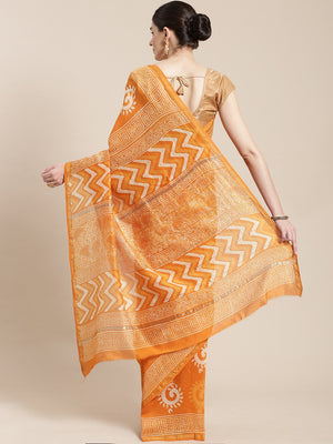 Rust Orange & Off-White Handblock Print Bagru Saree-Saree-Kalakari India-BHKPSA0107-Cotton, Geographical Indication, Hand Blocks, Hand Crafted, Heritage Prints, Sanganeri, Sarees, Sustainable Fabrics-[Linen,Ethnic,wear,Fashionista,Handloom,Handicraft,Indigo,blockprint,block,print,Cotton,Chanderi,Blue, latest,classy,party,bollywood,trendy,summer,style,traditional,formal,elegant,unique,style,hand,block,print, dabu,booti,gift,present,glamorous,affordable,collectible,Sari,Saree,printed, holi, Diwali