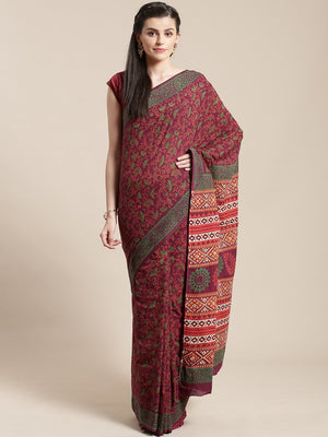 Off-White & Rust Red Handblock Print Bagru Saree-Saree-Kalakari India-BHKPSA0108-Cotton, Geographical Indication, Hand Blocks, Hand Crafted, Heritage Prints, Sanganeri, Sarees, Sustainable Fabrics-[Linen,Ethnic,wear,Fashionista,Handloom,Handicraft,Indigo,blockprint,block,print,Cotton,Chanderi,Blue, latest,classy,party,bollywood,trendy,summer,style,traditional,formal,elegant,unique,style,hand,block,print, dabu,booti,gift,present,glamorous,affordable,collectible,Sari,Saree,printed, holi, Diwali, b