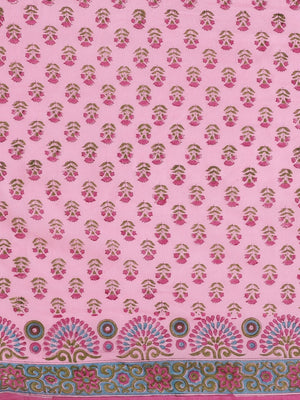 Pink & Blue Handblock Print Bagru Saree-Saree-Kalakari India-BHKPSA0109-Cotton, Geographical Indication, Hand Blocks, Hand Crafted, Heritage Prints, Sanganeri, Sarees, Sustainable Fabrics-[Linen,Ethnic,wear,Fashionista,Handloom,Handicraft,Indigo,blockprint,block,print,Cotton,Chanderi,Blue, latest,classy,party,bollywood,trendy,summer,style,traditional,formal,elegant,unique,style,hand,block,print, dabu,booti,gift,present,glamorous,affordable,collectible,Sari,Saree,printed, holi, Diwali, birthday,