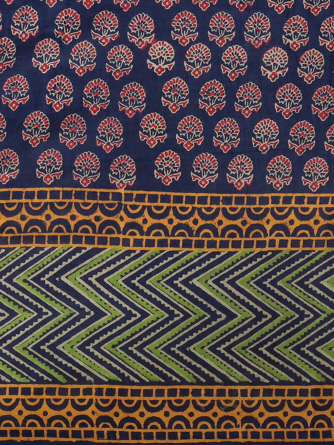 Navy Blue & Red Handblock Print Bagru Saree-Saree-Kalakari India-BHKPSA0110-Cotton, Geographical Indication, Hand Blocks, Hand Crafted, Heritage Prints, Sanganeri, Sarees, Sustainable Fabrics-[Linen,Ethnic,wear,Fashionista,Handloom,Handicraft,Indigo,blockprint,block,print,Cotton,Chanderi,Blue, latest,classy,party,bollywood,trendy,summer,style,traditional,formal,elegant,unique,style,hand,block,print, dabu,booti,gift,present,glamorous,affordable,collectible,Sari,Saree,printed, holi, Diwali, birthd