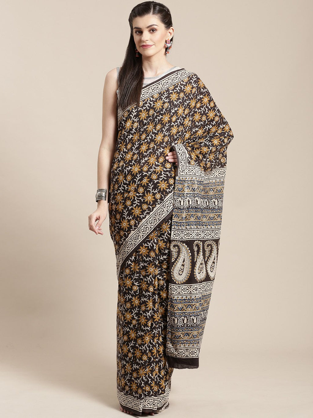 Black & Mustard Yellow Handblock Print Bagru Saree-Saree-Kalakari India-BHKPSA0111-Cotton, Geographical Indication, Hand Blocks, Hand Crafted, Heritage Prints, Sanganeri, Sarees, Sustainable Fabrics-[Linen,Ethnic,wear,Fashionista,Handloom,Handicraft,Indigo,blockprint,block,print,Cotton,Chanderi,Blue, latest,classy,party,bollywood,trendy,summer,style,traditional,formal,elegant,unique,style,hand,block,print, dabu,booti,gift,present,glamorous,affordable,collectible,Sari,Saree,printed, holi, Diwali,