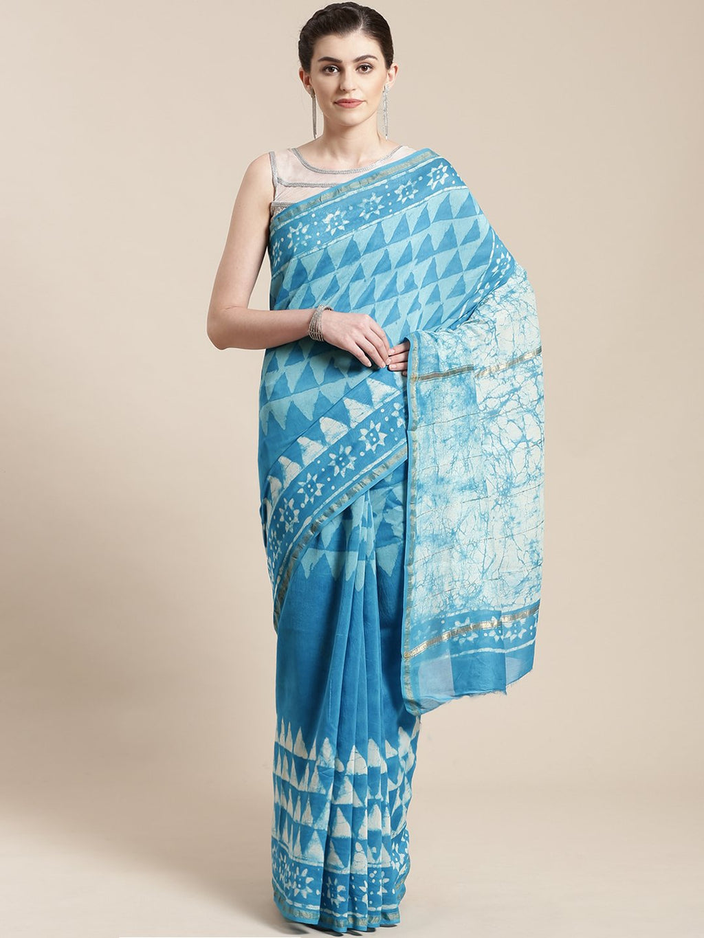 Blue & Off-White Handwoven Handblock Print Bagru Saree-Saree-Kalakari India-BHKPSA0116-Cotton, Geographical Indication, Hand Blocks, Hand Crafted, Heritage Prints, Sanganeri, Sarees, Sustainable Fabrics-[Linen,Ethnic,wear,Fashionista,Handloom,Handicraft,Indigo,blockprint,block,print,Cotton,Chanderi,Blue, latest,classy,party,bollywood,trendy,summer,style,traditional,formal,elegant,unique,style,hand,block,print, dabu,booti,gift,present,glamorous,affordable,collectible,Sari,Saree,printed, holi, Diw