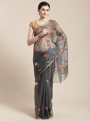 Grey Organza Hand Painted Organza Saree-Saree-Kalakari India-BHKPSA0117-Hand Painted, Organza, Sarees, Sustainable Fabrics, Traditional Weave-[Linen,Ethnic,wear,Fashionista,Handloom,Handicraft,Indigo,blockprint,block,print,Cotton,Chanderi,Blue, latest,classy,party,bollywood,trendy,summer,style,traditional,formal,elegant,unique,style,hand,block,print, dabu,booti,gift,present,glamorous,affordable,collectible,Sari,Saree,printed, holi, Diwali, birthday, anniversary, sustainable, organic, scarf, onli