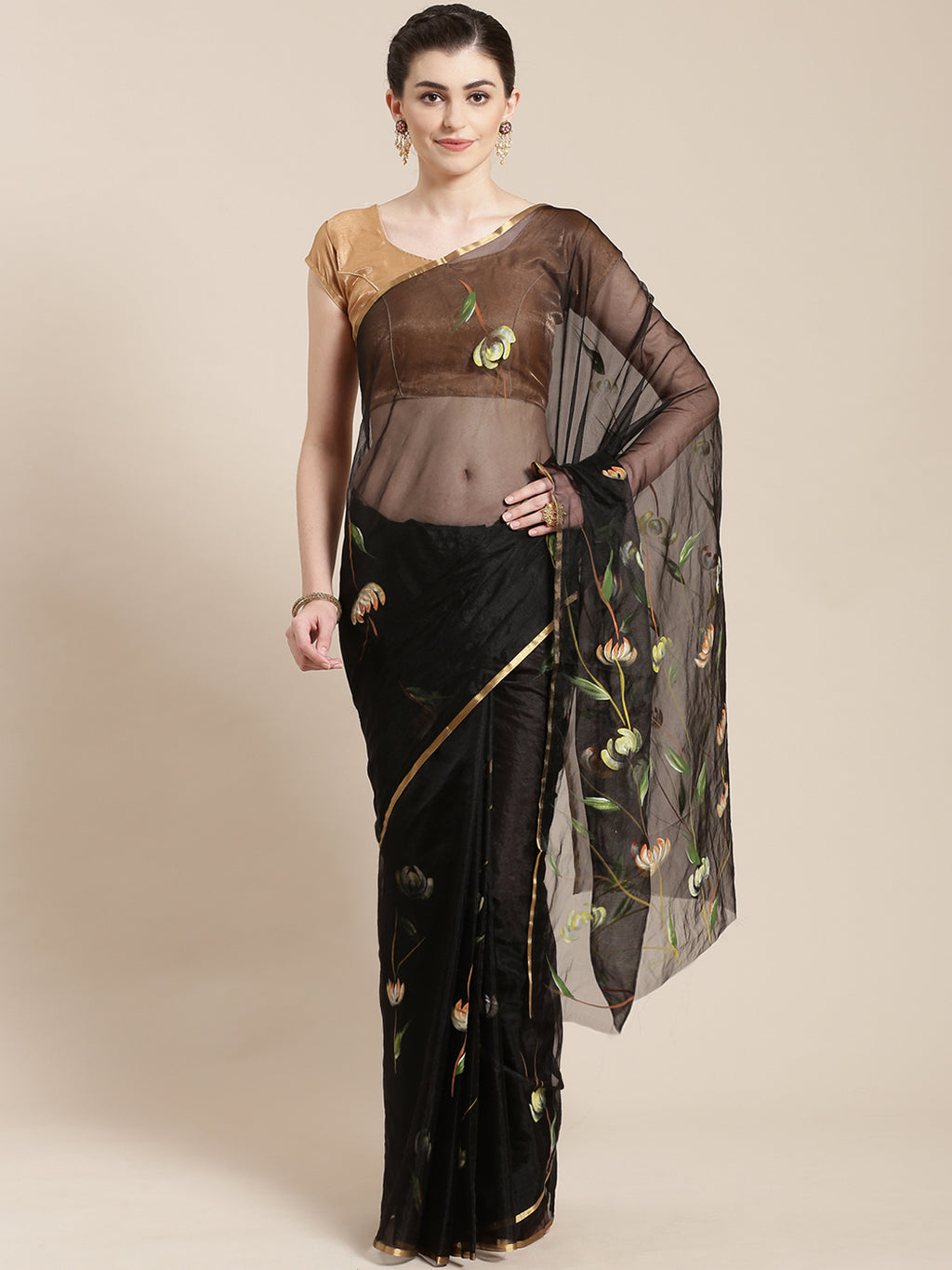 Black & Green Floral Hand Painted Organza Saree-Saree-Kalakari India-BHKPSA0120-Hand Painted, Organza, Sarees, Sustainable Fabrics, Traditional Weave-[Linen,Ethnic,wear,Fashionista,Handloom,Handicraft,Indigo,blockprint,block,print,Cotton,Chanderi,Blue, latest,classy,party,bollywood,trendy,summer,style,traditional,formal,elegant,unique,style,hand,block,print, dabu,booti,gift,present,glamorous,affordable,collectible,Sari,Saree,printed, holi, Diwali, birthday, anniversary, sustainable, organic, sca