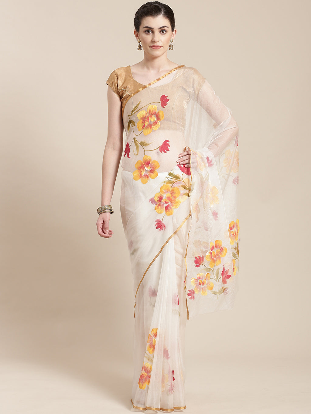 White & Mustard Yellow Floral Hand Painted Organza Saree-Saree-Kalakari India-BHKPSA0121-Hand Painted, Organza, Sarees, Sustainable Fabrics, Traditional Weave-[Linen,Ethnic,wear,Fashionista,Handloom,Handicraft,Indigo,blockprint,block,print,Cotton,Chanderi,Blue, latest,classy,party,bollywood,trendy,summer,style,traditional,formal,elegant,unique,style,hand,block,print, dabu,booti,gift,present,glamorous,affordable,collectible,Sari,Saree,printed, holi, Diwali, birthday, anniversary, sustainable, org