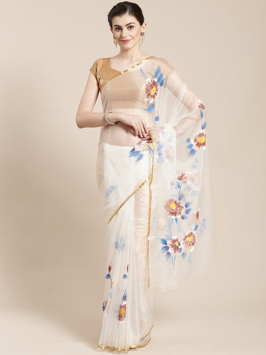 White & Blue Hand Painted Organza Saree-Saree-Kalakari India-BHKPSA0123-Hand Painted, Organza, Sarees, Sustainable Fabrics, Traditional Weave-[Linen,Ethnic,wear,Fashionista,Handloom,Handicraft,Indigo,blockprint,block,print,Cotton,Chanderi,Blue, latest,classy,party,bollywood,trendy,summer,style,traditional,formal,elegant,unique,style,hand,block,print, dabu,booti,gift,present,glamorous,affordable,collectible,Sari,Saree,printed, holi, Diwali, birthday, anniversary, sustainable, organic, scarf, onli