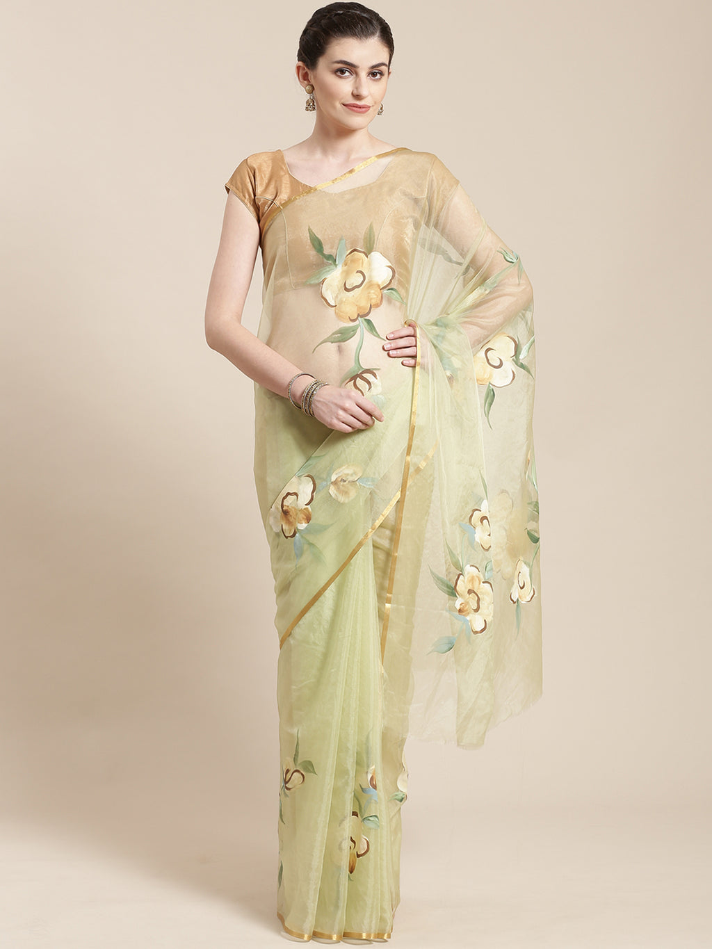 Lime Green & Brown Floral Hand Painted Organza Saree-Saree-Kalakari India-BHKPSA0124-Hand Painted, Organza, Sarees, Sustainable Fabrics, Traditional Weave-[Linen,Ethnic,wear,Fashionista,Handloom,Handicraft,Indigo,blockprint,block,print,Cotton,Chanderi,Blue, latest,classy,party,bollywood,trendy,summer,style,traditional,formal,elegant,unique,style,hand,block,print, dabu,booti,gift,present,glamorous,affordable,collectible,Sari,Saree,printed, holi, Diwali, birthday, anniversary, sustainable, organic