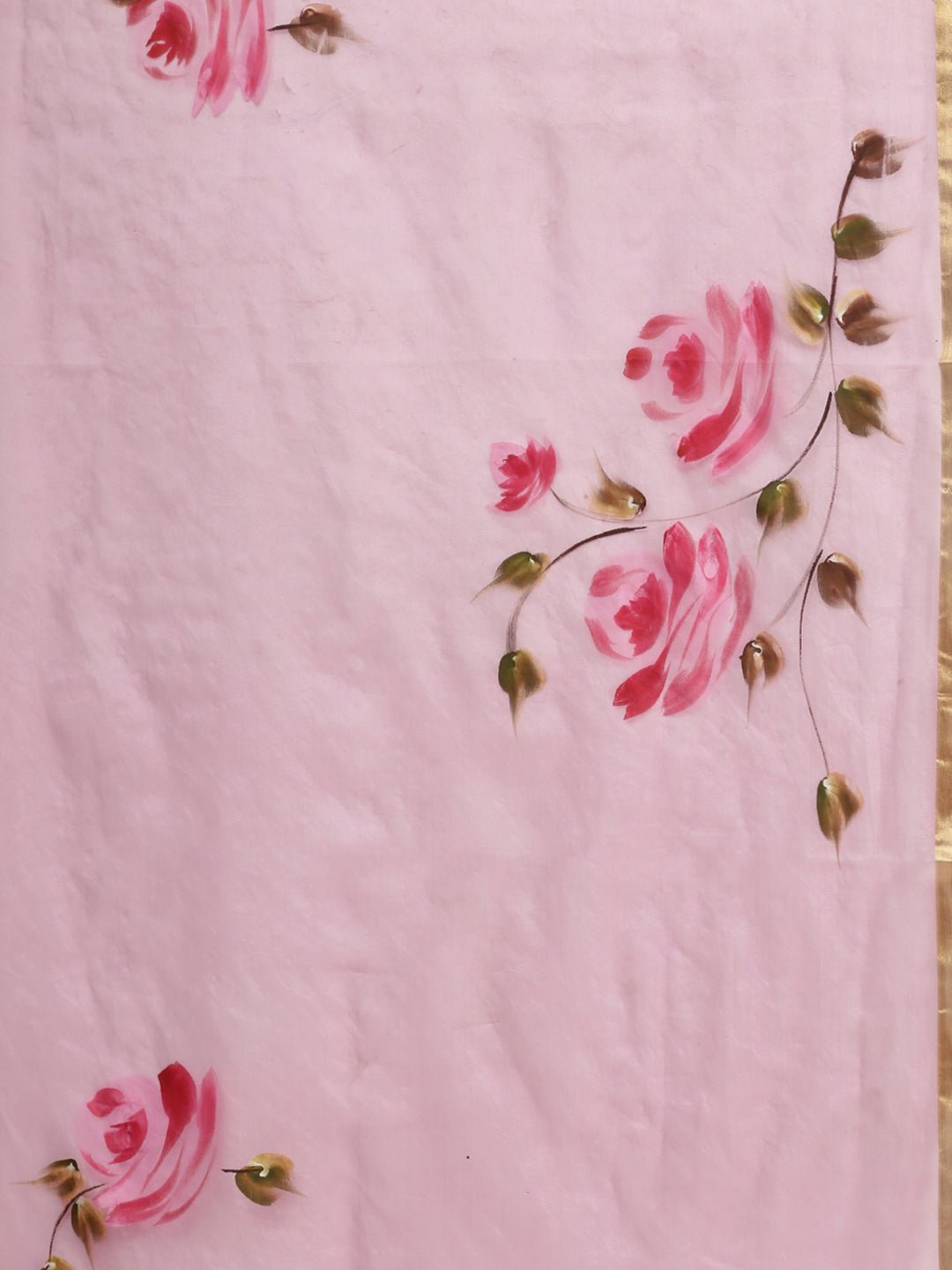 Pink & Green Hand Painted Organza Saree-Saree-Kalakari India-BHKPSA0125-Hand Painted, Organza, Sarees, Sustainable Fabrics, Traditional Weave-[Linen,Ethnic,wear,Fashionista,Handloom,Handicraft,Indigo,blockprint,block,print,Cotton,Chanderi,Blue, latest,classy,party,bollywood,trendy,summer,style,traditional,formal,elegant,unique,style,hand,block,print, dabu,booti,gift,present,glamorous,affordable,collectible,Sari,Saree,printed, holi, Diwali, birthday, anniversary, sustainable, organic, scarf, onli