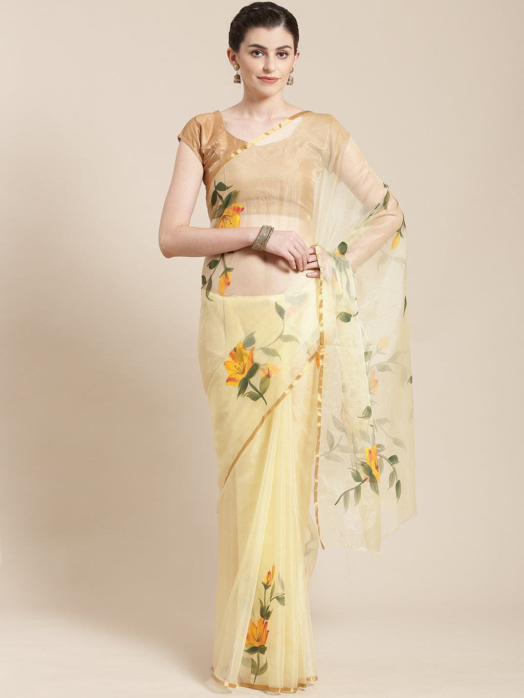 Yellow & Green Floral Hand Painted Organza Saree-Saree-Kalakari India-BHKPSA0126-Hand Painted, Organza, Sarees, Sustainable Fabrics, Traditional Weave-[Linen,Ethnic,wear,Fashionista,Handloom,Handicraft,Indigo,blockprint,block,print,Cotton,Chanderi,Blue, latest,classy,party,bollywood,trendy,summer,style,traditional,formal,elegant,unique,style,hand,block,print, dabu,booti,gift,present,glamorous,affordable,collectible,Sari,Saree,printed, holi, Diwali, birthday, anniversary, sustainable, organic, sc