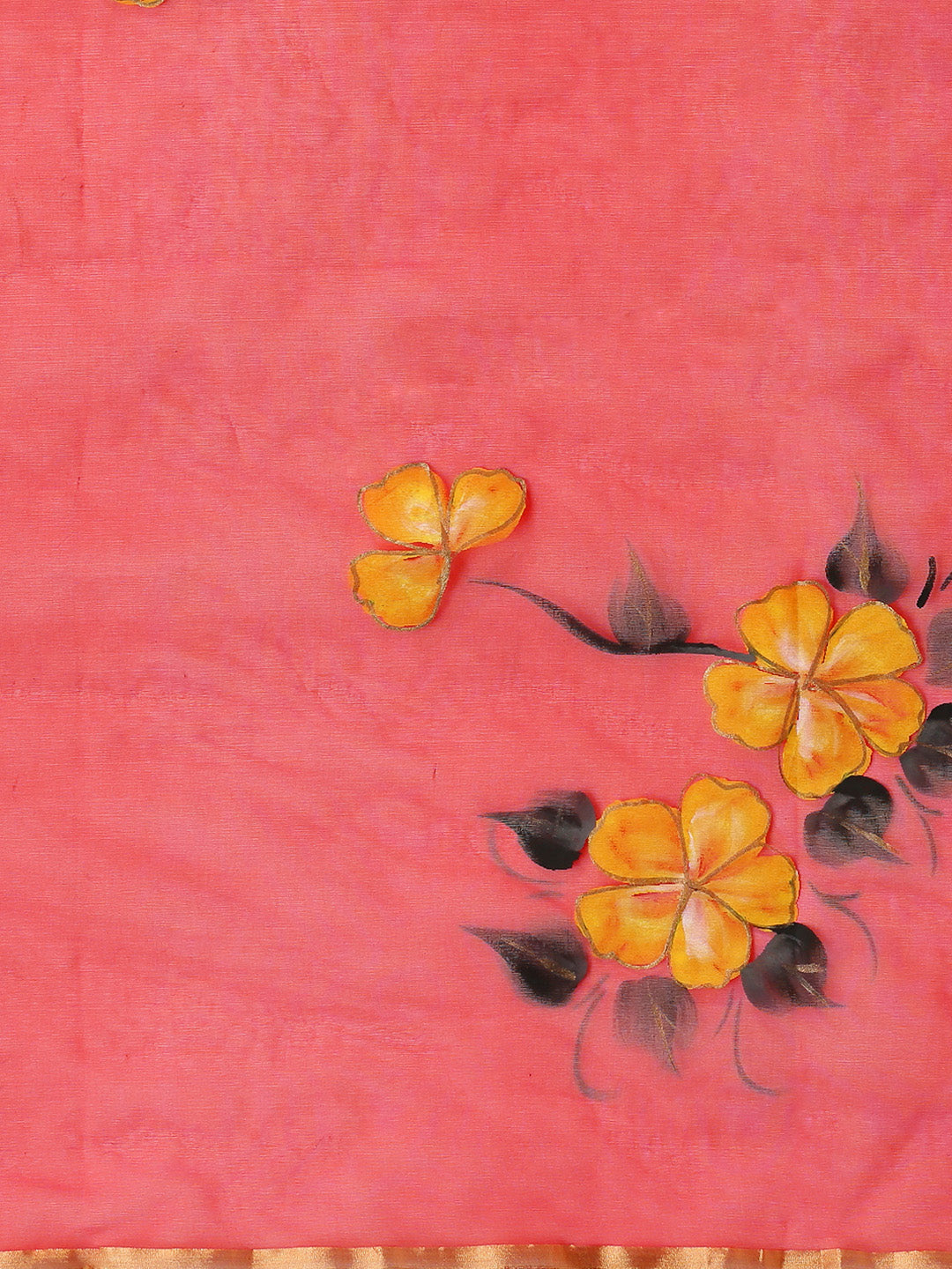 Red & Yellow Hand Painted Organza Saree-Saree-Kalakari India-BHKPSA0127-Hand Painted, Organza, Sarees, Sustainable Fabrics, Traditional Weave-[Linen,Ethnic,wear,Fashionista,Handloom,Handicraft,Indigo,blockprint,block,print,Cotton,Chanderi,Blue, latest,classy,party,bollywood,trendy,summer,style,traditional,formal,elegant,unique,style,hand,block,print, dabu,booti,gift,present,glamorous,affordable,collectible,Sari,Saree,printed, holi, Diwali, birthday, anniversary, sustainable, organic, scarf, onli