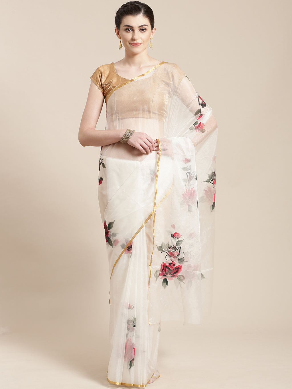 White & Red Floral Hand Painted Organza Saree-Saree-Kalakari India-BHKPSA0128-Hand Painted, Organza, Sarees, Sustainable Fabrics, Traditional Weave-[Linen,Ethnic,wear,Fashionista,Handloom,Handicraft,Indigo,blockprint,block,print,Cotton,Chanderi,Blue, latest,classy,party,bollywood,trendy,summer,style,traditional,formal,elegant,unique,style,hand,block,print, dabu,booti,gift,present,glamorous,affordable,collectible,Sari,Saree,printed, holi, Diwali, birthday, anniversary, sustainable, organic, scarf