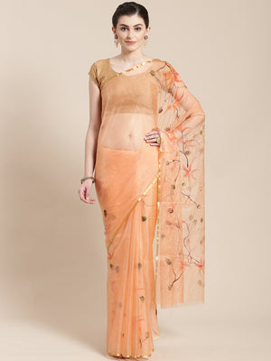 Peach-Coloured Hand Painted Organza Saree-Saree-Kalakari India-BHKPSA0130-Hand Painted, Organza, Sarees, Sustainable Fabrics, Traditional Weave-[Linen,Ethnic,wear,Fashionista,Handloom,Handicraft,Indigo,blockprint,block,print,Cotton,Chanderi,Blue, latest,classy,party,bollywood,trendy,summer,style,traditional,formal,elegant,unique,style,hand,block,print, dabu,booti,gift,present,glamorous,affordable,collectible,Sari,Saree,printed, holi, Diwali, birthday, anniversary, sustainable, organic, scarf, on