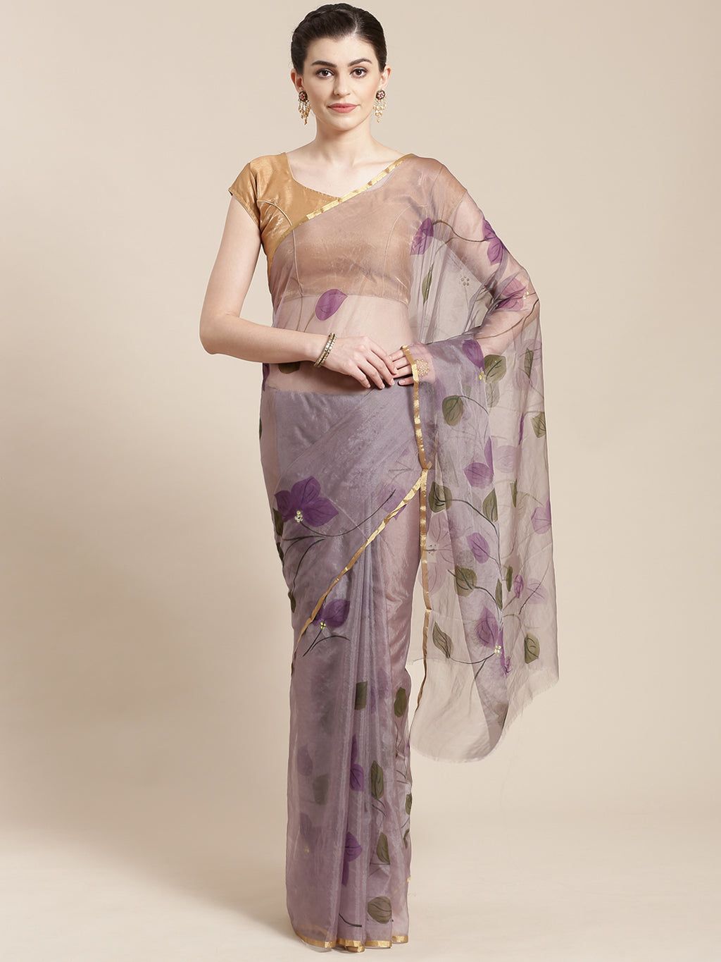 Purple & Olive Green Hand Painted Organza Saree-Saree-Kalakari India-BHKPSA0131-Hand Painted, Organza, Sarees, Sustainable Fabrics, Traditional Weave-[Linen,Ethnic,wear,Fashionista,Handloom,Handicraft,Indigo,blockprint,block,print,Cotton,Chanderi,Blue, latest,classy,party,bollywood,trendy,summer,style,traditional,formal,elegant,unique,style,hand,block,print, dabu,booti,gift,present,glamorous,affordable,collectible,Sari,Saree,printed, holi, Diwali, birthday, anniversary, sustainable, organic, sca