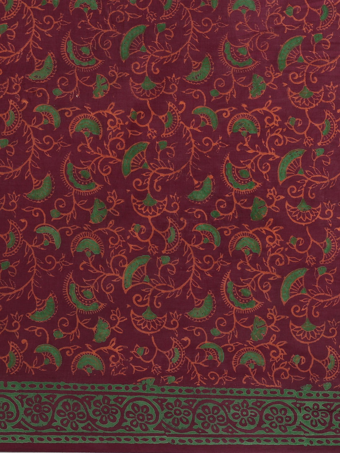 Burgundy & Orange Handblock Print Bagru Saree-Saree-Kalakari India-BHKPSA0105-Cotton, Geographical Indication, Hand Blocks, Hand Crafted, Heritage Prints, Sanganeri, Sarees, Sustainable Fabrics-[Linen,Ethnic,wear,Fashionista,Handloom,Handicraft,Indigo,blockprint,block,print,Cotton,Chanderi,Blue, latest,classy,party,bollywood,trendy,summer,style,traditional,formal,elegant,unique,style,hand,block,print, dabu,booti,gift,present,glamorous,affordable,collectible,Sari,Saree,printed, holi, Diwali, birt