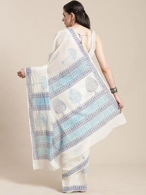White & Blue Kalamkari Handblock Print Saree-Saree-Kalakari India-HUPASA0001-Cotton, Geographical Indication, Hand Blocks, Hand Crafted, Heritage Prints, Sarees, Sustainable Fabrics-[Linen,Ethnic,wear,Fashionista,Handloom,Handicraft,Indigo,blockprint,block,print,Cotton,Chanderi,Blue, latest,classy,party,bollywood,trendy,summer,style,traditional,formal,elegant,unique,style,hand,block,print, dabu,booti,gift,present,glamorous,affordable,collectible,Sari,Saree,printed, holi, Diwali, birthday, annive