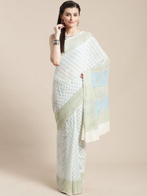 White & Blue Kalamkari Handblock Print Saree-Saree-Kalakari India-HUPASA0004-Cotton, Geographical Indication, Hand Blocks, Hand Crafted, Heritage Prints, Sarees, Sustainable Fabrics-[Linen,Ethnic,wear,Fashionista,Handloom,Handicraft,Indigo,blockprint,block,print,Cotton,Chanderi,Blue, latest,classy,party,bollywood,trendy,summer,style,traditional,formal,elegant,unique,style,hand,block,print, dabu,booti,gift,present,glamorous,affordable,collectible,Sari,Saree,printed, holi, Diwali, birthday, annive