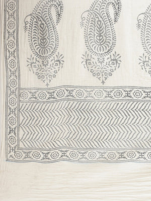 White & Grey Cotton Handblock Print Saree-Saree-Kalakari India-HUPASA0005-Cotton, Geographical Indication, Hand Blocks, Hand Crafted, Heritage Prints, Sarees, Sustainable Fabrics-[Linen,Ethnic,wear,Fashionista,Handloom,Handicraft,Indigo,blockprint,block,print,Cotton,Chanderi,Blue, latest,classy,party,bollywood,trendy,summer,style,traditional,formal,elegant,unique,style,hand,block,print, dabu,booti,gift,present,glamorous,affordable,collectible,Sari,Saree,printed, holi, Diwali, birthday, anniversa