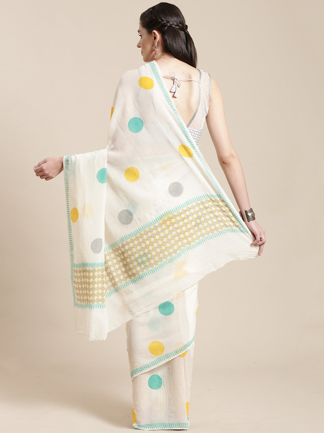 White & Green Handblock Print Saree-Saree-Kalakari India-HUPASA0008-Cotton, Geographical Indication, Hand Blocks, Hand Crafted, Heritage Prints, Sarees, Sustainable Fabrics-[Linen,Ethnic,wear,Fashionista,Handloom,Handicraft,Indigo,blockprint,block,print,Cotton,Chanderi,Blue, latest,classy,party,bollywood,trendy,summer,style,traditional,formal,elegant,unique,style,hand,block,print, dabu,booti,gift,present,glamorous,affordable,collectible,Sari,Saree,printed, holi, Diwali, birthday, anniversary, su