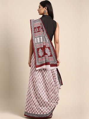 Off-White Maroon Printed Bagh Saree-Saree-Kalakari India-MRBASA0004-Bagh, Cotton, Geographical Indication, Hand Blocks, Hand Crafted, Heritage Prints, Natural Dyes, Sarees, Sustainable Fabrics-[Linen,Ethnic,wear,Fashionista,Handloom,Handicraft,Indigo,blockprint,block,print,Cotton,Chanderi,Blue, latest,classy,party,bollywood,trendy,summer,style,traditional,formal,elegant,unique,style,hand,block,print, dabu,booti,gift,present,glamorous,affordable,collectible,Sari,Saree,printed, holi, Diwali, birth