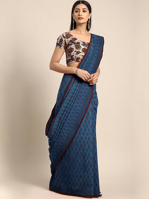 Navy Blue Brown Printed Bagh Saree-Saree-Kalakari India-MRBASA0006-Bagh, Cotton, Geographical Indication, Hand Blocks, Hand Crafted, Heritage Prints, Natural Dyes, Sarees, Sustainable Fabrics-[Linen,Ethnic,wear,Fashionista,Handloom,Handicraft,Indigo,blockprint,block,print,Cotton,Chanderi,Blue, latest,classy,party,bollywood,trendy,summer,style,traditional,formal,elegant,unique,style,hand,block,print, dabu,booti,gift,present,glamorous,affordable,collectible,Sari,Saree,printed, holi, Diwali, birthd