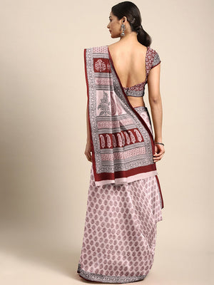 Off-White Maroon Printed Bagh Saree-Saree-Kalakari India-MRBASA0007-Bagh, Cotton, Geographical Indication, Hand Blocks, Hand Crafted, Heritage Prints, Natural Dyes, Sarees, Sustainable Fabrics-[Linen,Ethnic,wear,Fashionista,Handloom,Handicraft,Indigo,blockprint,block,print,Cotton,Chanderi,Blue, latest,classy,party,bollywood,trendy,summer,style,traditional,formal,elegant,unique,style,hand,block,print, dabu,booti,gift,present,glamorous,affordable,collectible,Sari,Saree,printed, holi, Diwali, birth