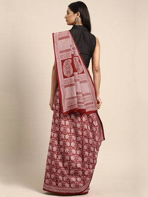 Maroon Off-White Handblock Print Bagh Saree-Saree-Kalakari India-MRBASA0008-Bagh, Cotton, Geographical Indication, Hand Blocks, Hand Crafted, Heritage Prints, Natural Dyes, Sarees, Sustainable Fabrics-[Linen,Ethnic,wear,Fashionista,Handloom,Handicraft,Indigo,blockprint,block,print,Cotton,Chanderi,Blue, latest,classy,party,bollywood,trendy,summer,style,traditional,formal,elegant,unique,style,hand,block,print, dabu,booti,gift,present,glamorous,affordable,collectible,Sari,Saree,printed, holi, Diwal