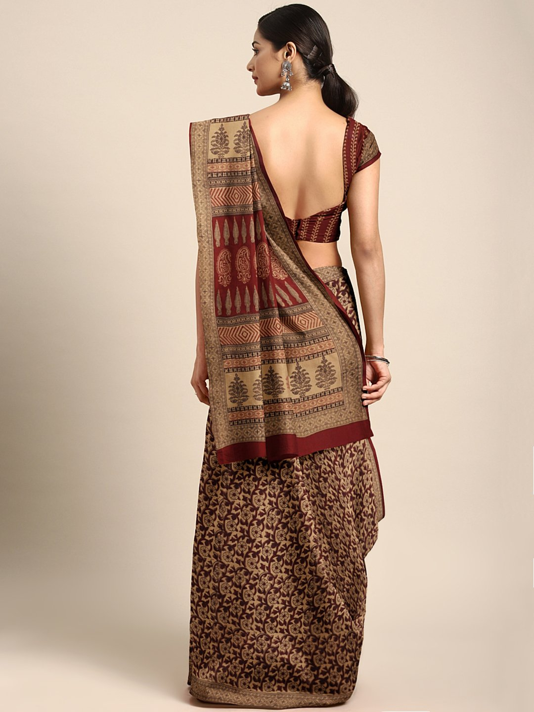 Brown Maroon Pure Cotton Handblock Print Bagh Saree-Saree-Kalakari India-MRBASA0009-Bagh, Cotton, Geographical Indication, Hand Blocks, Hand Crafted, Heritage Prints, Natural Dyes, Sarees, Sustainable Fabrics-[Linen,Ethnic,wear,Fashionista,Handloom,Handicraft,Indigo,blockprint,block,print,Cotton,Chanderi,Blue, latest,classy,party,bollywood,trendy,summer,style,traditional,formal,elegant,unique,style,hand,block,print, dabu,booti,gift,present,glamorous,affordable,collectible,Sari,Saree,printed, hol